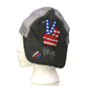 LeeLee Rox Rhinestone Grunge Cap Peace Symbol USA